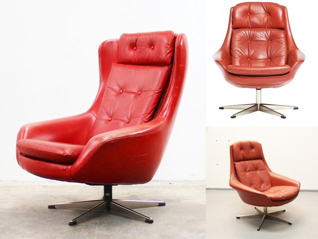 坐53-H.W. Klein紅高背單椅